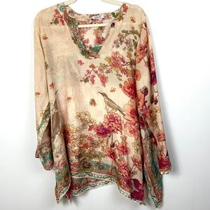 Johnny Was 100% Silk Tunic Floral Long Sleeve Bird